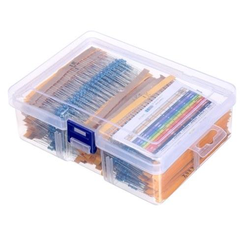 KKmoon 2600pcs 130 Values 1/4W 0.25W 1% Metal Film Resistors Assorted Pack Kit Set Lot Resistors Assortment Kit