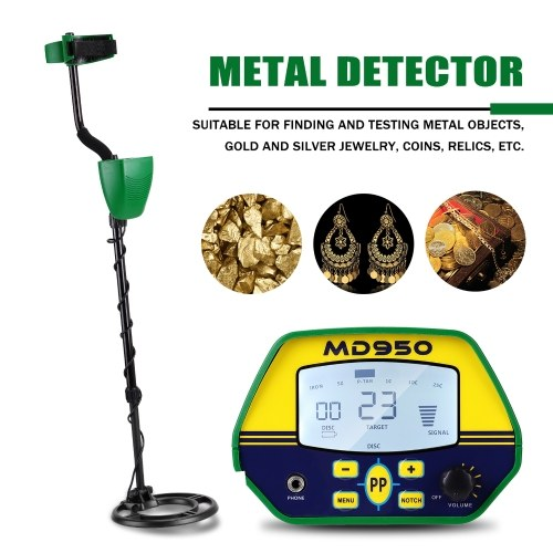 MD950 10 Inch Waterproof Search Coil LCD Display Screen Handheld Portable Metal Detector Easy Installation High Sensitivity High Accuracy Metal Detecting Tool Treasure Gold Metal Detector Gift Present for Adults and Kids