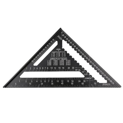 12-дюймовая квадратная метрическая линейка из алюминиевого сплава для стропил Двойная шкала Треугольник Транспортир Датчик макета Высокая точность Легко читаемый инструмент макета Деревообрабатывающий квадрат для каркаса зданий