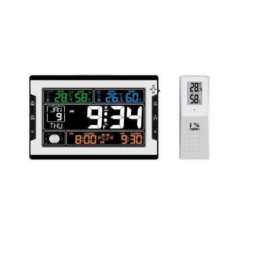 KKmoon Цифровые многофункциональные часы для измерения температуры и влажности в помещении и на улице Термогигрометр