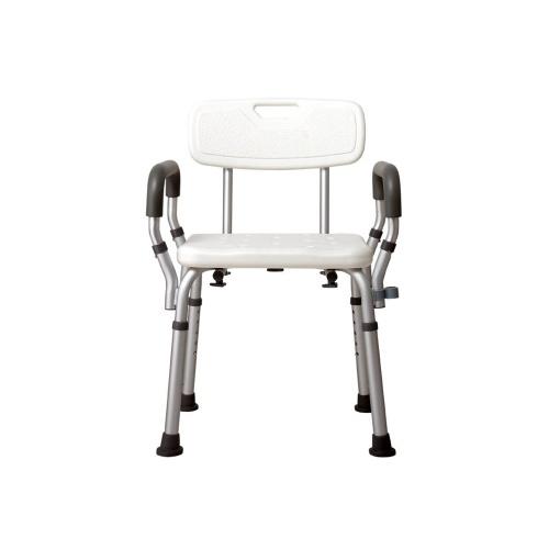 Скамья для душа с подлокотниками и съемной спинкой Регулируемое кресло для душа Сборка без инструментов Сиденье для ванны Табурет для душа для пожилых людей