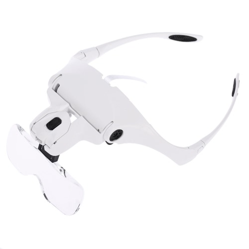 5 Lens 1.0X-3.5X Adjustable Bracket Headband Glasses Magnifier Loupe with 2 LED Lights Goggles Magnifying Tool