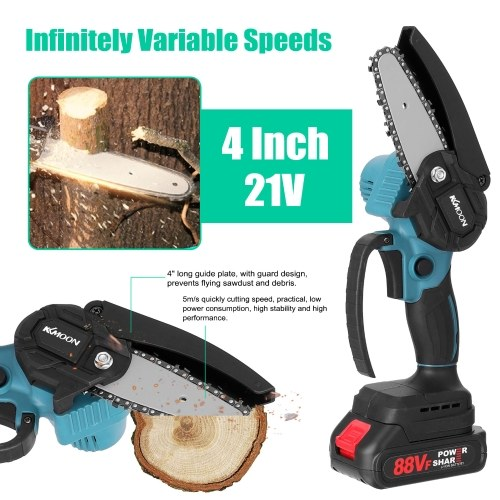 KKmoon 21V 4inch Portable Electric Pruning-Saw 388VF Small Wood Spliting Chainsaw Brush Motor One-handed Woodworking Tool for Garden Orchard