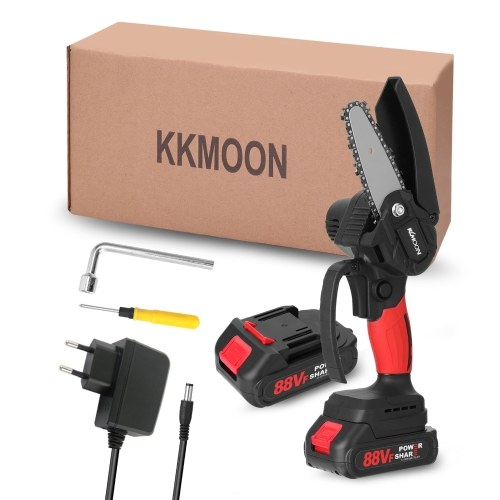 KKmoon 21V 4inch Portable Electric Pruning-Saw 88VF Small Wood Spliting Chainsaw Brush Motor One-handed Woodworking Tool for Garden Orchard