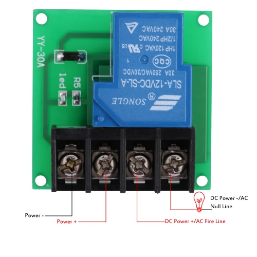 1-Channel DC 12V 30A Relay Module Optocoupler Isolation Relay Switch Control Board