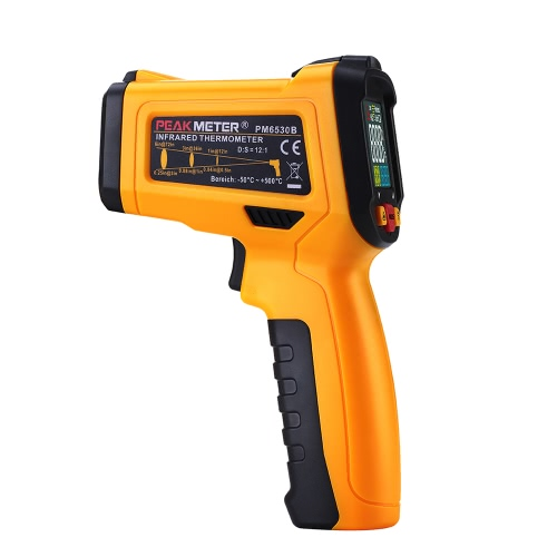 PEAKMETER PM6530B -50~500°C 12:1 Handheld Non-contact Digital Infrared IR Thermometer Temperature Tester with Alarm Adjustable Emissivity