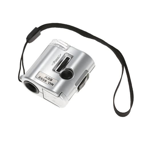 60X Mini Microscopio joyero de la lupa de la lente de cristal iluminado lupa con luz UV LED