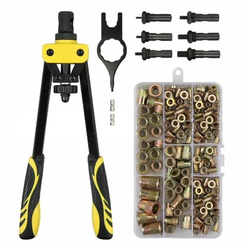14 Inch Hand Rivet Nut Tool 6PCS m3 m4 m5 m6 m8 m10 Metric Mandrels 200PCS Rivet Nuts for Bicycle Furniture Decorations Off-road Modifications
