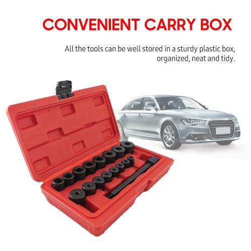Clutch Alignment Tool Kit 17-Piece Flywheel Pilot Hole and Clutch Drive Plate Aligning Tool Automobile Clutch Installation Tools with Plastic Storage Box