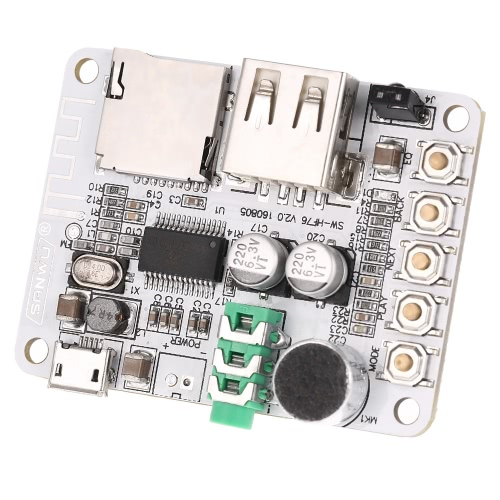 USB DC 5V Wireless Bluetooth 2.1 Audio Receiver Board Amplifier Module FM Radio Function TF Card Slot with Remote Control