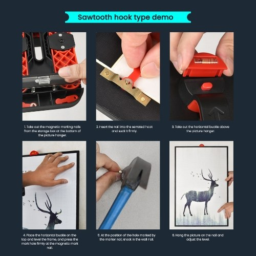 104PCS Various Hardware Accessories Set Photo Frame Accessories Photo Frame Hangs Tool Accessories Use with Folding Level with Storage Box