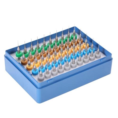 50шт 0,25 + 0,3 + 0,35 + 0,4 + 0,45 мм из карбида вольфрама Micro сверла Набор Гравировка Инструменты для плата PCB