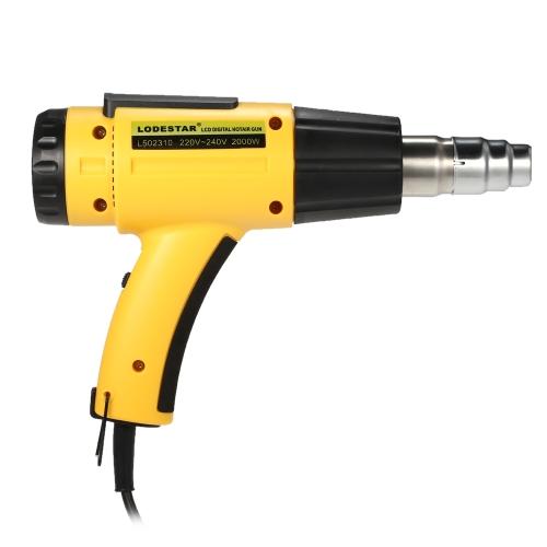 LODESTAR de alta calidad LCD digital de temperatura controlada eléctrica pistola de aire caliente ajustable IC IC SMD herramientas de soldadura con boquilla 2000W AC220