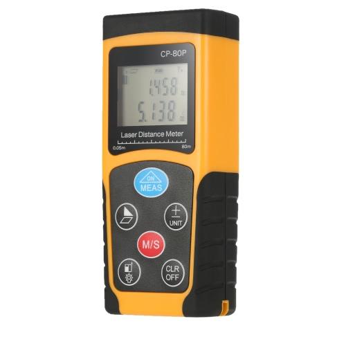 Портативный портативный цифровой лазерный дальномер 80 м Высокий диапазон измерения диапазона измерения диапазона измерения объема данных с подсветкой