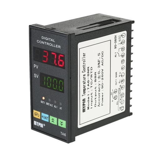 MYPIN多機能インテリジェント温度コントローラデュアル4デジタル表示℃/℉サーモスタットPID加熱冷却制御TC / RTD入力SSR出力1リレーアラーム96mmX48mmX80mm 90-260VのLED