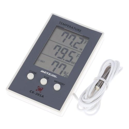 Meterk LCD Digital Innen- / Außen-Thermometer Hygrometer Temperatur Feuchtemessung ° C / ° F Max Min Wertanzeige