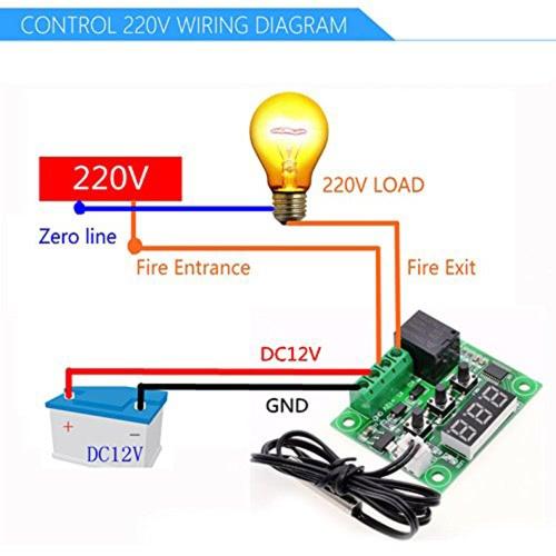 W1209 Blue LED Digital Temperature Controller Board фото