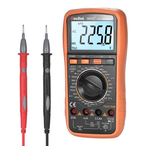 RuoShui 19999 Compteurs True RMS Multi-fonctionnel Multimètre numérique DMM avec DC AC Tension Courant Meter Résistance Diode Capacitance Tester Fréquence Conductivité HFE Mesure Continuité Test Rétro-éclairage Écran LCD
