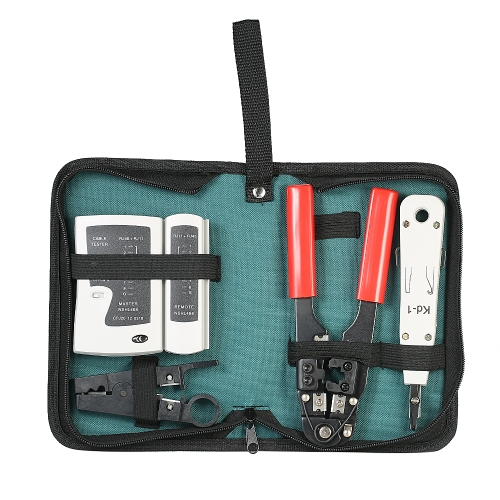 5pcs / set Network Cable Tester Kit Wire Crimping Pliers & Network Cable Tester & Punch Tool & Stripping Wire Faca Professional Network Repair Tool Box com bolsa de armazenamento