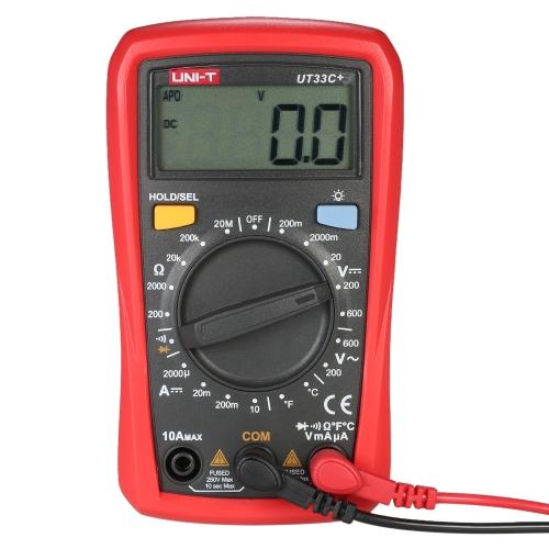 UNI-T UT33C +バックライト付きLCDマルチディスプレイデジタルマルチメータDC AC電圧DC電流抵抗テスター
