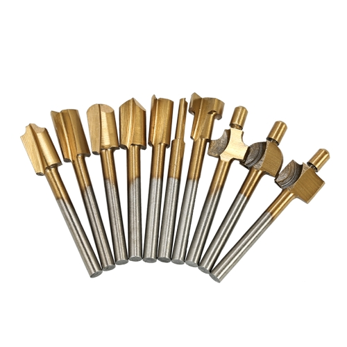 "10pcs Router Bit Titanium Coated HSS Cutter with 3mm 1/8"" Shank Burr Rotary File Wood Milling Cutters Tool Carpenter Woodworking Tools"