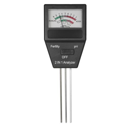 2 em 1 Mini Soil pH Meter Fertility Tester Analyzer com três sondas para cultivar jardinagem Gramado (sem necessidade de bateria)