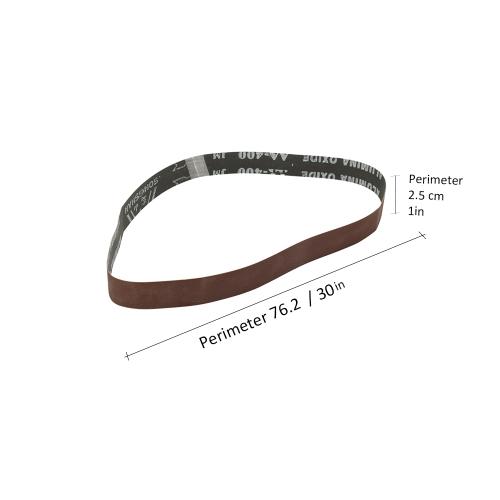 10-Pack 400 Grit 1 Inch Wide 30 Inch Long Red Stiff Abrasive Cloth Sanding Belt