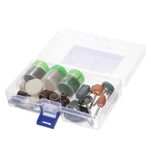"""100pcs 1/8 """"Shank Rotary Tool Accessories Set Шлифовальная шлифовальная щетка Полировочные биты Набор принадлежностей с ящиком для хранения дробилок Dremel"""
