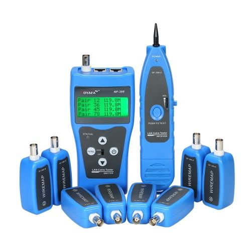 Multi-funcional LCD Network Cable Tester Rastreador de fios RJ11 RJ45 BNC Buscador de comprimento de fio com 8 adaptadores remotos