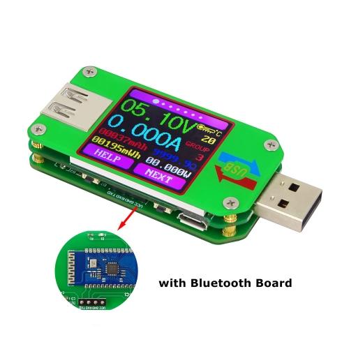 RD UM24C USB 2.0 Monitor de tela LCD a cores Voltagem Medidor de corrente Voltímetro Amperímetro Bateria Carga Cabo Medição de impedância Versão de comunicação