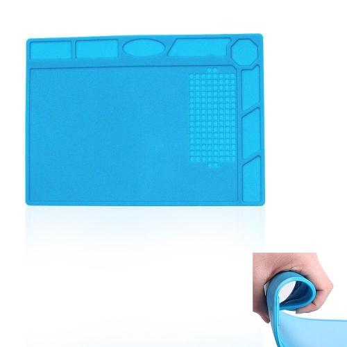 Aislamiento térmico Kit de reparación de estera de silicona Materiales de soldadura Electrónica Alfombra plegable Manta de soldadura Mantas de plataforma para estación de soldadura con tornillo Ubicación