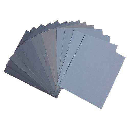 LANHU da 800 a 3000 Grit secco / carta vetrata bagnata per la finitura di mobili in legno Levigatura e lucidatura di metalli in metallo 9 * 11 pollici 14 fogli