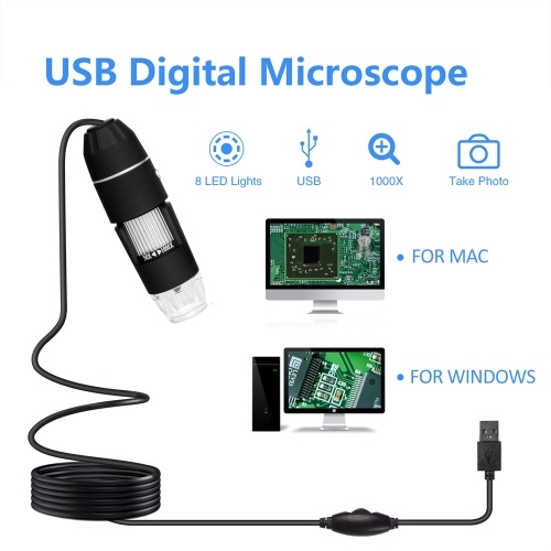 Multifunctional Handheld Portable Digital Microscope USB Interface Electron Microscopes with 8 LEDs without Bracket 300000 Pixels