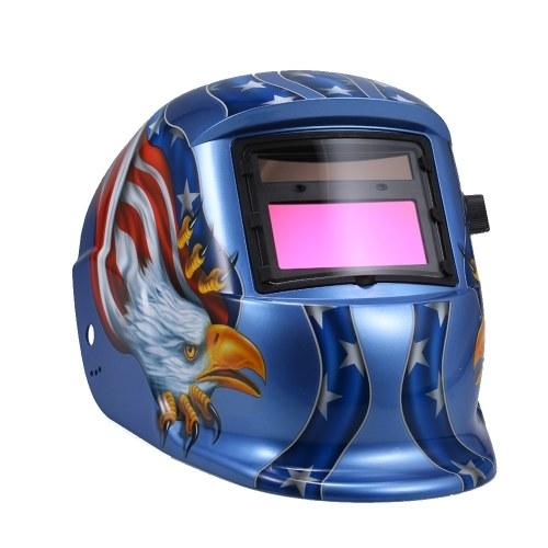 ソーラー自動暗くするヘルメット溶接マスク自動溶接シールドミグティグアーク溶接保護キャップ付きレンズ調整可能なHe adband