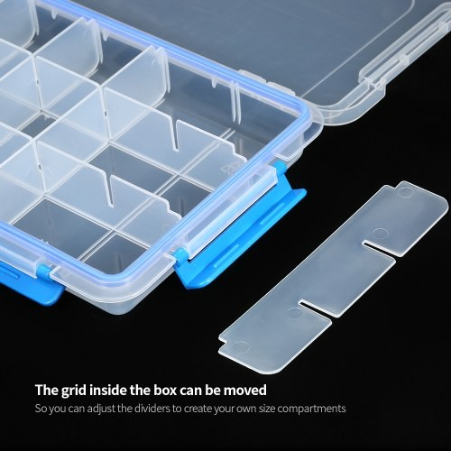 Transparent Plastic Storage Box Multiple Compartments Slot Hardware Box Organizer Jewelry Tools Electronic Components Container Fishing Tackle Box Fishing Accessories Storage Case with Adjustable Dividers 15 Grids