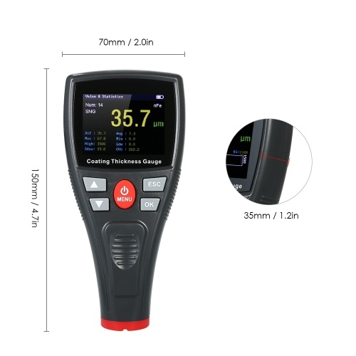 Цифровой измеритель толщины лакокрасочного покрытия Ручной измеритель толщины покрытий с автоматической функцией Зонд Fe / NF Автомобильный детектор Автомобильное покрытие Рафинирующий лакокрасочный счетчик автомобилей (0 ~ 1500um)