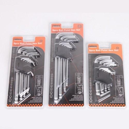 FINDER 9 STÜCKE Innensechskant Innensechskantschlüssel Sechskantschlüssel Set 1,5-10mm Drehmomentschlüssel Metric Ball Ended Handwerkzeug für Reparatur Fahrrad