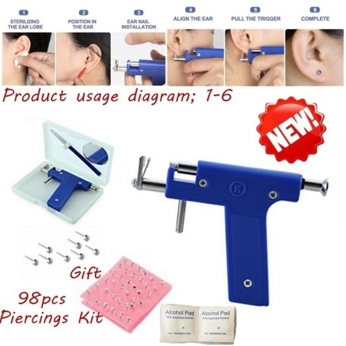 Stainless Steel Body Piercing Tool Kit Professional Ear Nose Navel Piercing Machine with Ears Studs Tools