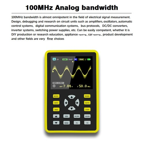 """5012H 2.4"""" LCD Display Screen Handheld Portable Digital Mini Oscilloscope with 100MHz Bandwidth and 500MS/s Sampling Rate E6952"""