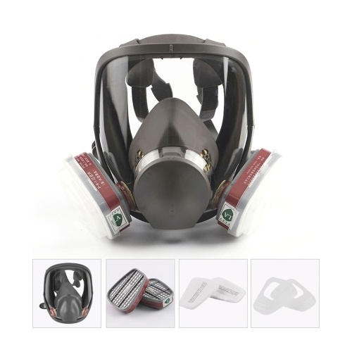MJ-4006 Series Full Face Protective Mask Specially Used for Spray Paint Chemical Pesticide Fire Control Formaldehyde Decoration Smog Protective Mask Cartridge Set Respirator for Protection from Chemicals Harm Spraying Painting