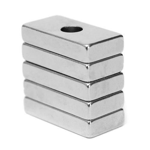5 Stück N35 Seltenerd-Neodym-Magnet mit 4 mm Loch, starkmagnetisch, 20 x 10 x 4 mm