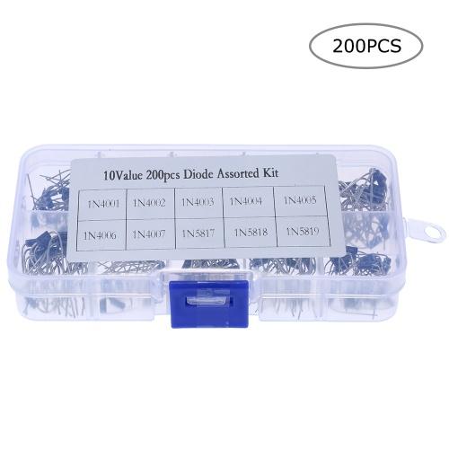 Kit assortito diodo raddrizzatore a 10 valori da 200 pezzi con scatola trasparente 1N4001 ~ 1N4007 e 1N5817 ~ 1N5819 con scatola in plastica trasparente