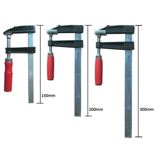 8-дюймовый F-образный зажим для стальных стержней средней прочности с пластиковой рукояткой и защитой накладки фото