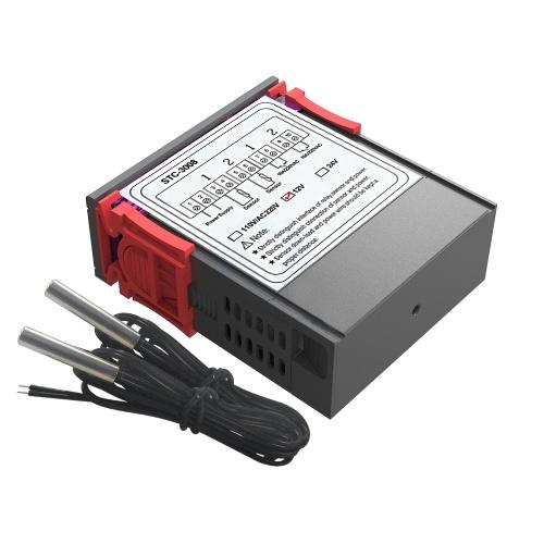 Dual Digital Display Thermostat Temperaturregler Temperaturregler mit Doppel NTC Sonde Heizung Sensor Sonde Zwei Relais Ausgang 12V