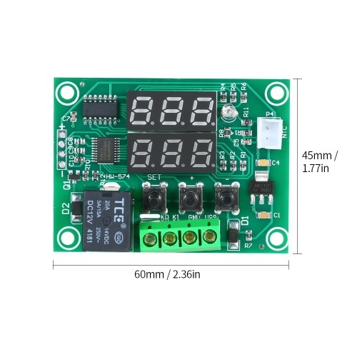 XH-W1219 Digital Temperature Controller Dual Digital Thermostat Thermometer Heating & Cooling Control Module Dual Digital Temperature Control Module PCB Board