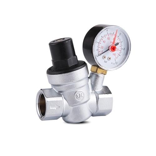Valvola di riduzione della pressione dell'acqua in ottone con manometro regolabile per depuratore d'acqua di instabilità idraulica