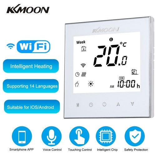 KKmoon Digital Water Heating Thermostat with WiFi Connection & Voice Control Energy Saving AC 95-240V 5A Touching Screen LCD Display Room Temperature Controller Works with Amazon Alexa/Google Assistant/IFTTT