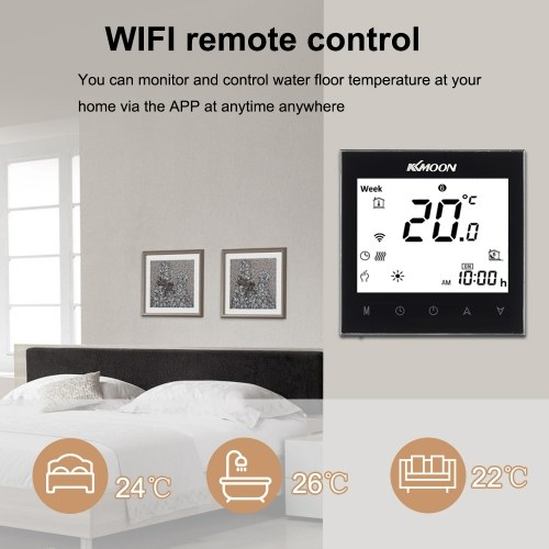 KKmoon Digital Underfloor Heating Thermostat for Electric Heating System Floor & Air Sensor with WiFi Connection & Voice Control Energy Saving AC 95-240V 16A Touchscreen LCD Display Room Temperature Controller Works with Amazon Alexa/Google Home/IFTTT