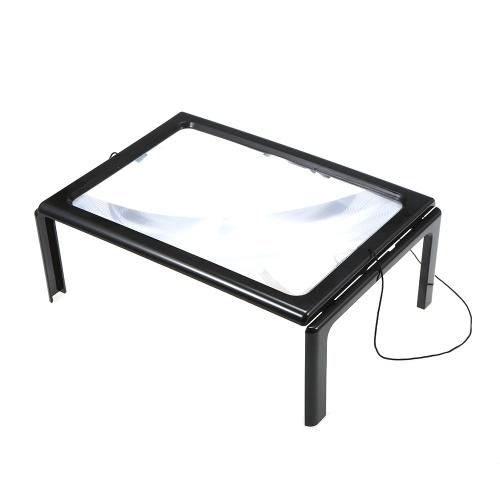 Vivavoce 3X Lettura a pagina intera Lente d'ingrandimento Lampada da tavolo pieghevole da tavolo a 4 LED con lente d'ingrandimento