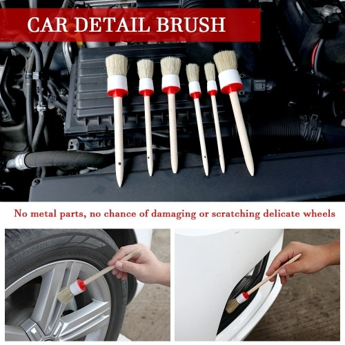 6pcs Car Brush Kit Bristle Wood Handle Auto Care for Interior Dashboard Rims Wheel Air-conditioning Engine Wash Auto Detailing Cleaning Tool Set